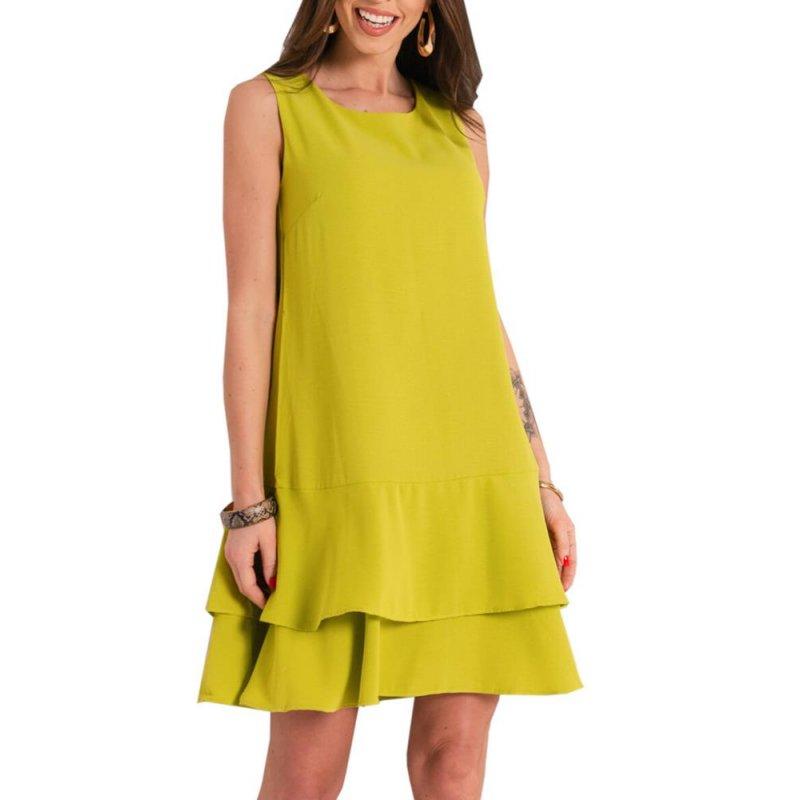 Sukienka trapezowa bez rękawów - seledynowa