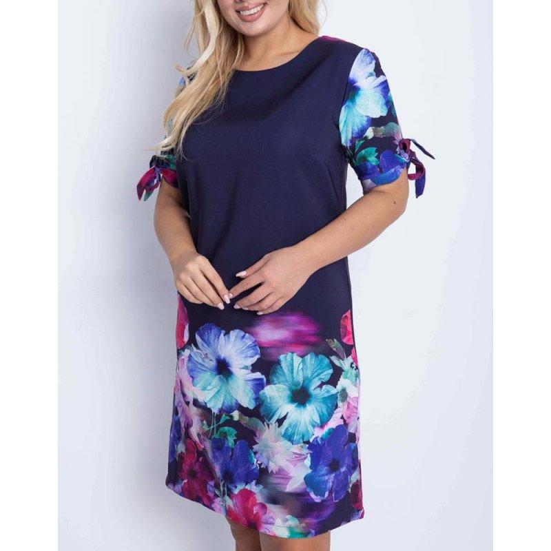 Granatowa sukienka z dolnym wzorem - KWIATY