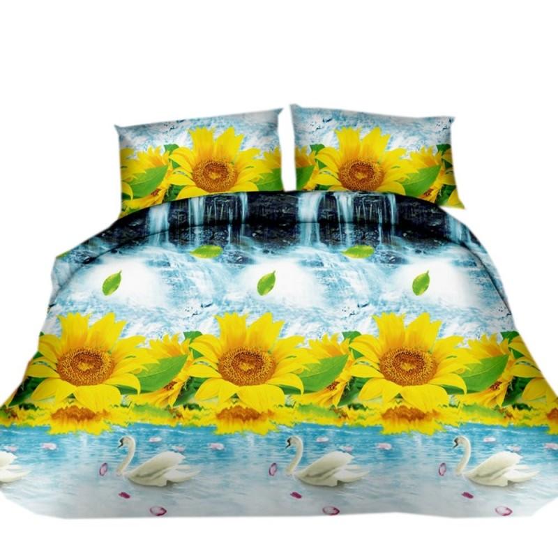 Pościel 3D FLOWERS (sunflowers) 160x200 Pościel w Kwiaty 160x200 Pościel 3D Pościel 160x200 Pościel z Mikrowłókna