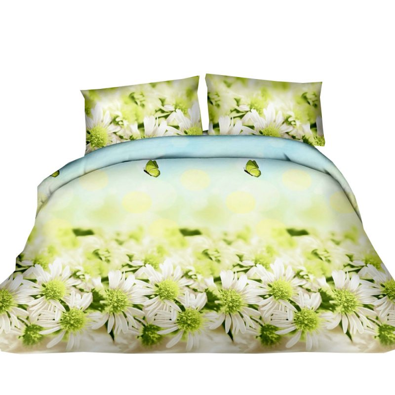 Pościel 3D FLOWERS (green daisy) 160x200