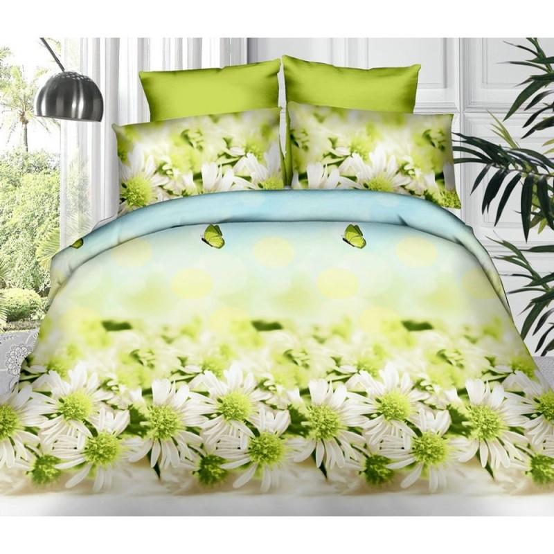 Pościel 3D FLOWERS (green daisy) 200x220 Pościel 200x220 Pościel 3D Pościel w Kwiaty Pościel z Mikrowłókna