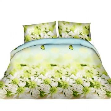 Pościel 3D FLOWERS (green daisy) 200x220