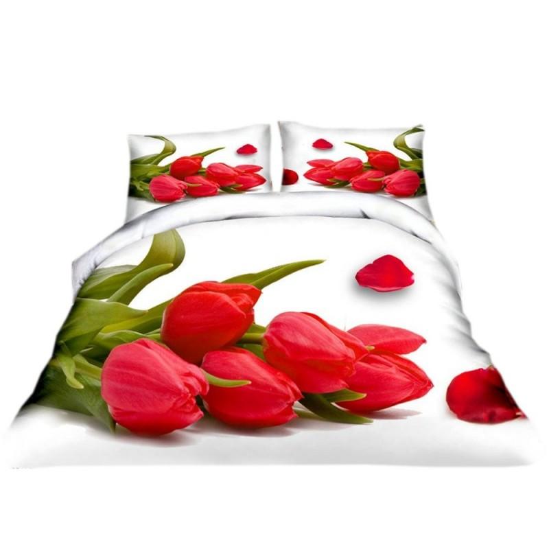 Pościel 3D FLOWERS (tulipany2) 200x220 Pościel 3D Pościel w Kwiaty 200x200 Pościel 200x220 Pościel z Mikrowłókna