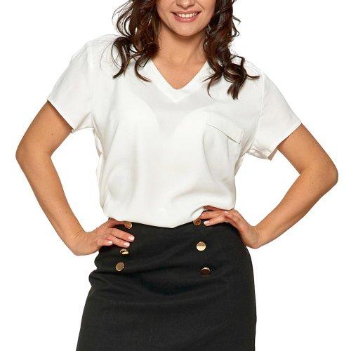 Bluzka damska z dekoltem V - ecru