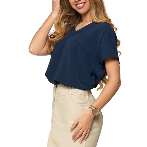 Granatowa bluzka damska z dekoltem V - ecru