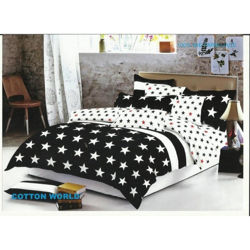 Pościel black & white (gwiazdy) 160x200 Pościel 160x200 Pościel Cotton World