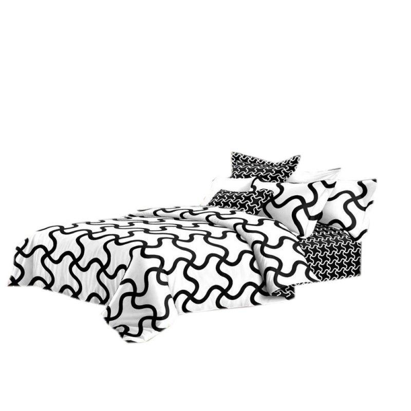 Pościel black & white (szlaczek) 160x200 Biało Czarna Pościel 160x200 Pościel Cotton World
