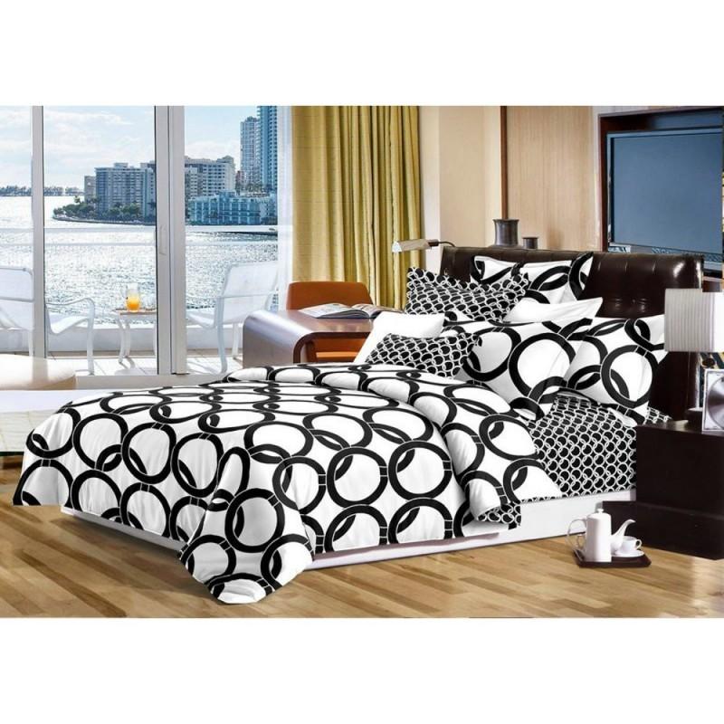 Pościel black & white (koła) 160x200 Czarno Biała Pościel 160x200 Pościel Cotton World