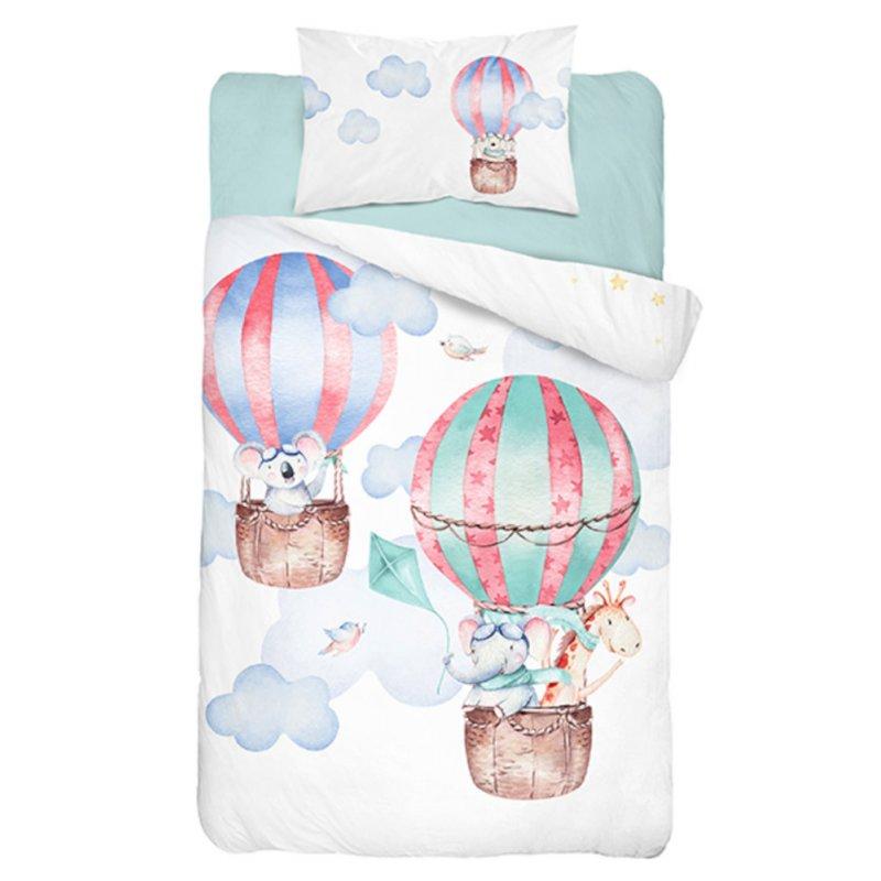 Pościel bambusowa do łóżeczka 100x135 Balony 3280 A Pościel balony 100x135 Pościel ekologiczna Pościel niemowlęca 100x135