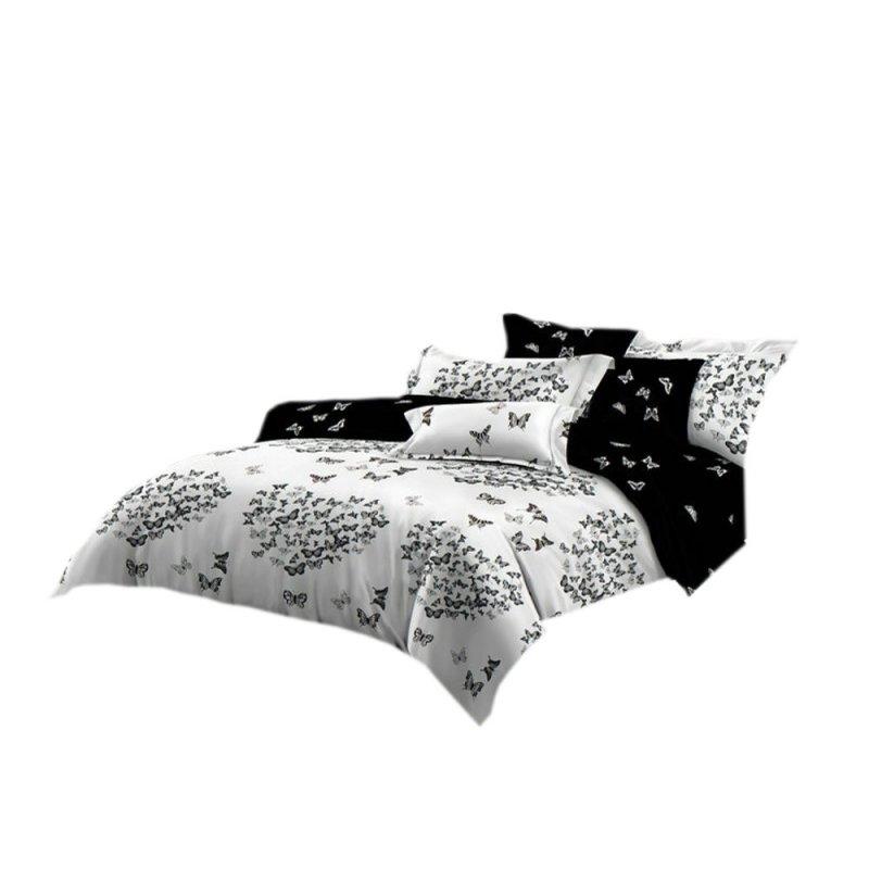 Pościel black & white (motyle) 160x200