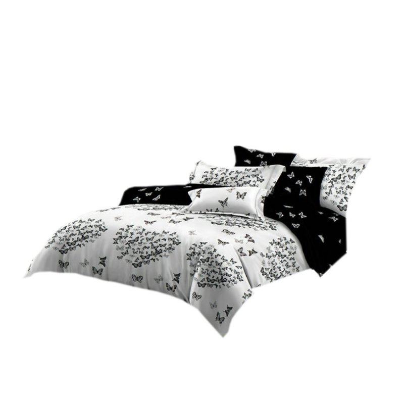 Pościel black & white (motyle) 200x220