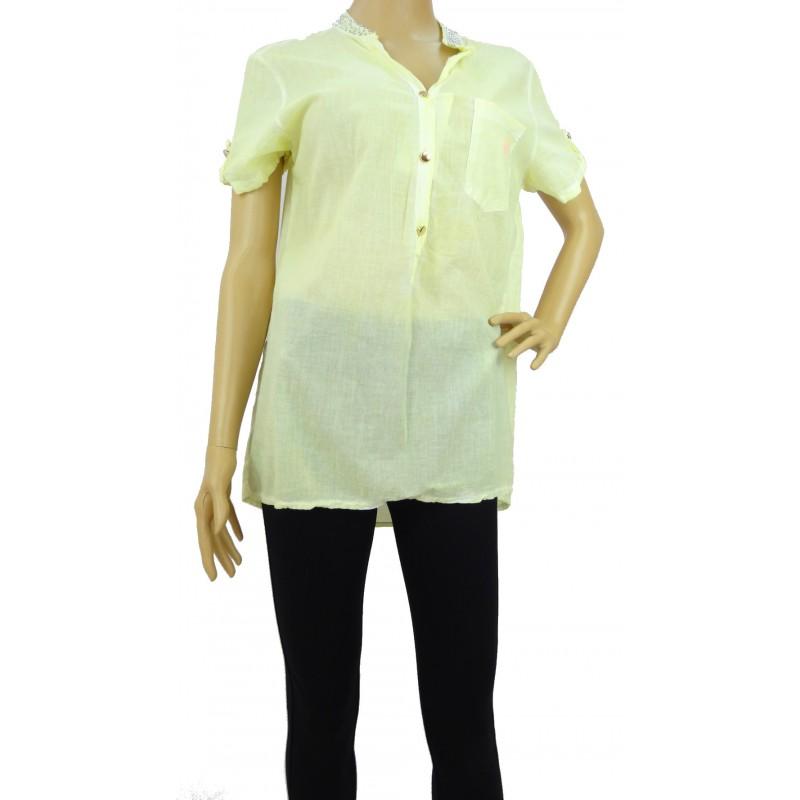 Bluzka z cekinami na kołnierzu (żółta)