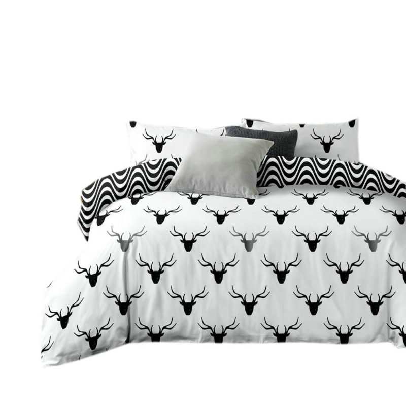 Pościel black & white (jeleń) 160x200