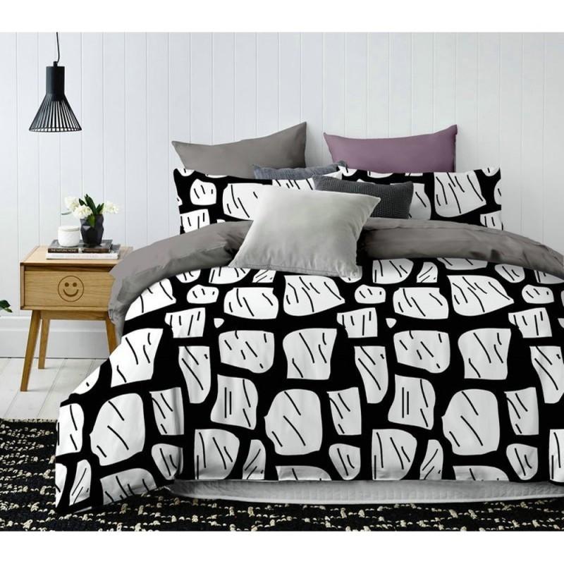 Pościel black & white (mur) 200x220 Pościel z Mikrowłókna Pościel 200x220 Pościel 200/220