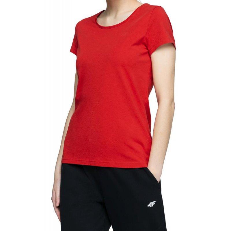 Koszulka damska basic 4F NOSH4 TSD001 - czerwona  T-shirt damski 4F Koszulka damska bawełniana Koszulka damska z bawełny Bluzka