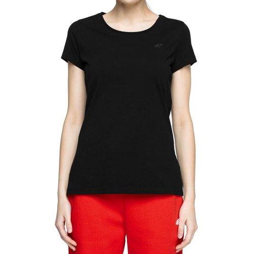 Koszulka damska basic 4F NOSH4 TSD001 - czarna  T-shirt damski 4F Koszulka damska bawełniana Koszulka damska z bawełny Bluzka 4F
