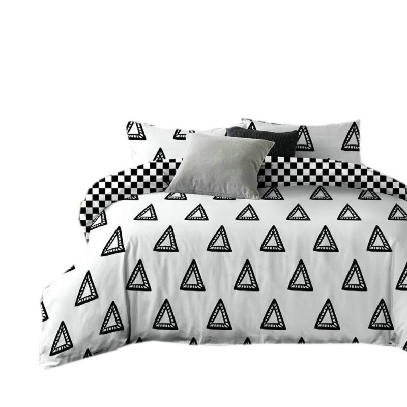 Pościel black & white (trójkąt) 160x200 Biało Czarna Pościel Cotton World Pościel 160x200