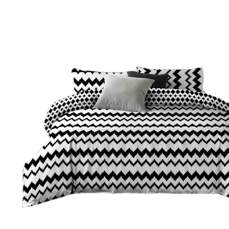 Pościel black & white (zigzag) 160x200 Biało Czarna Pościel Cotton World Pościel 160x200