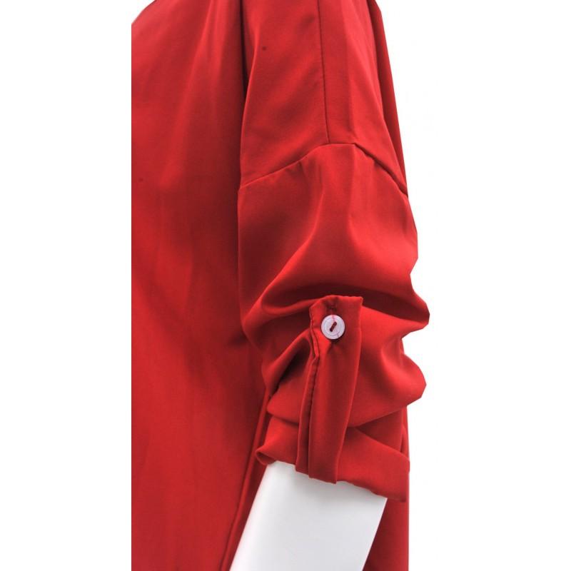 Bluzka/koszula oversize asymetryczna na guziki (czerwona)