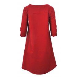 Sukienka trapezowa z kieszeniami asymetryczna (czerwona)