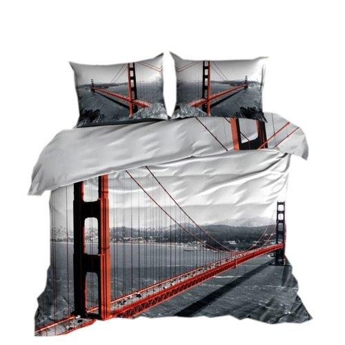 Pościel 3D 100 % BAWEŁNA POLSKI PRODUCENT WZ. 090 Pościel most Golden Gate Bridge