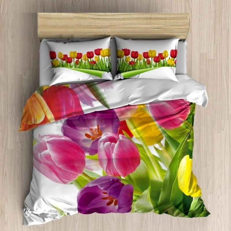 Pościel 3D 100 % BAWEŁNA POLSKI PRODUCENT WZ. 087 Pościel w Tulipany Pościel w Kwiaty Pościel Bawełniana 160x200 Pościel 160x200