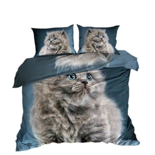 Pościel 3D 100 % BAWEŁNA POLSKI PRODUCENT WZ. 015 Pościel z kotem