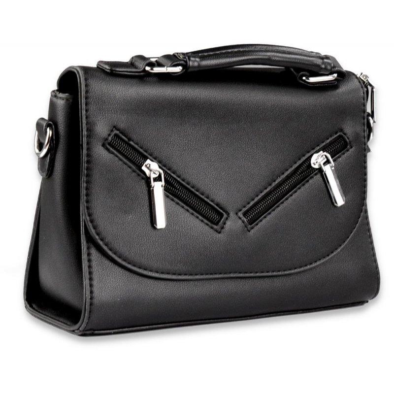 Elegancka torebka listonoszka damska 8661-1 - czarna