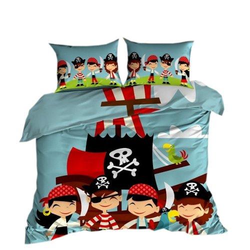 Komplet pościeli dziecięcej 3D 160x200 100% BAWEŁNA POLSKI PRODUCENT WZ. 104 tania Pościel dzieciąca piraci