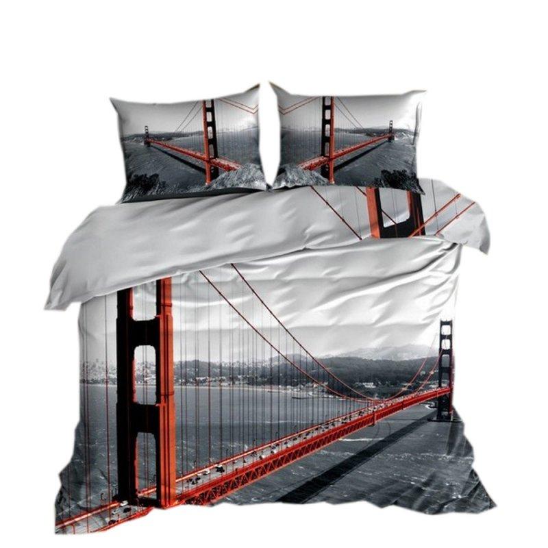 Pościel 3D 200x220 100 % BAWEŁNA POLSKI PRODUCENT WZ. 090 Most Golden Gate Bridge Pościel Bawełniana 200x220 Pościel 200x220