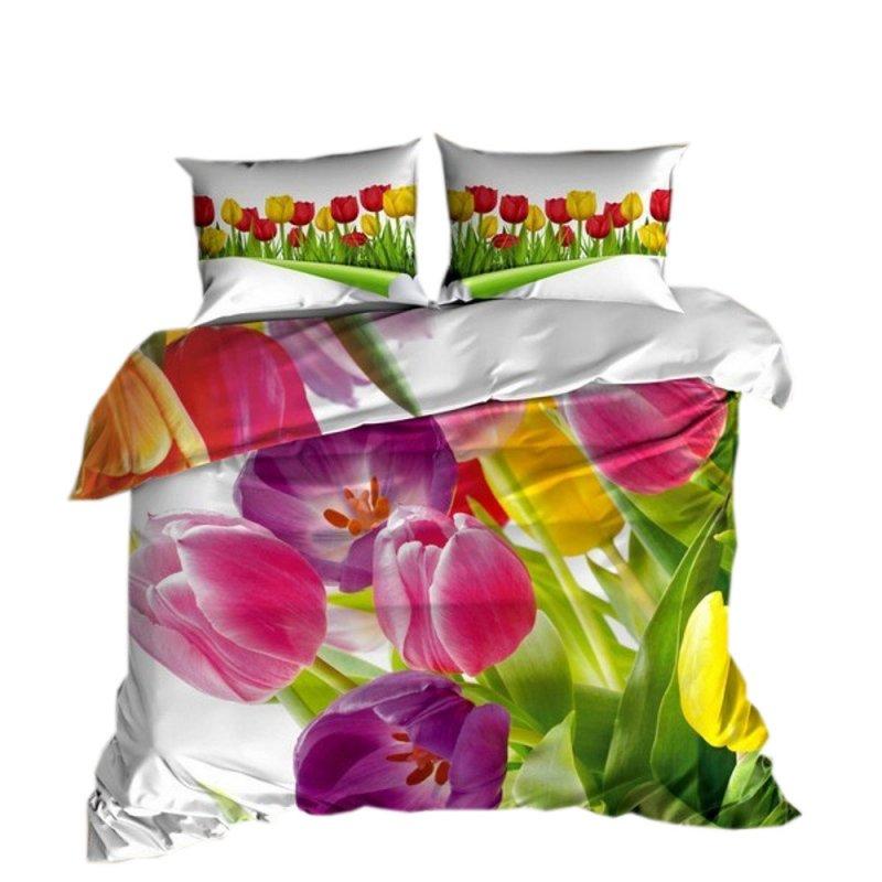 Pościel 3D 200x220 100 % BAWEŁNA POLSKI PRODUCENT WZ. 087 Pościel w tulipany