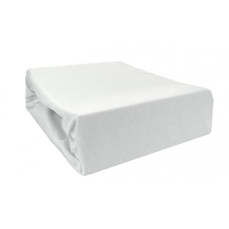 Prześcieradło bawełniane z gumką 180x200 Jersey 01 (białe)