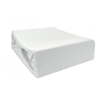 Prześcieradło bawełniane z gumką 200x220 Jersey 01 (białe)