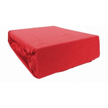 Prześcieradło bawełniane z gumką 200x220 Jersey 18 (czerwone)