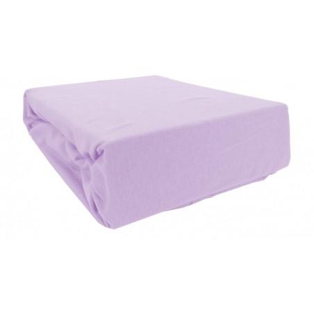 Prześcieradło bawełniane z gumką 200x220 Jersey 15 (fioletowe)