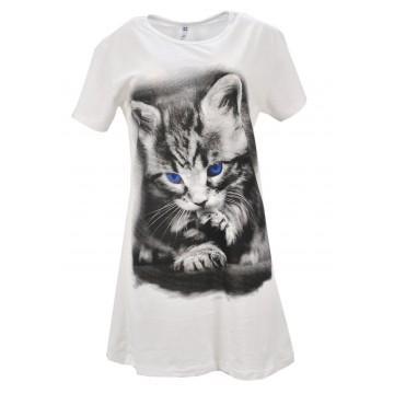 Tunika z namalowanym kotem (kremowa)