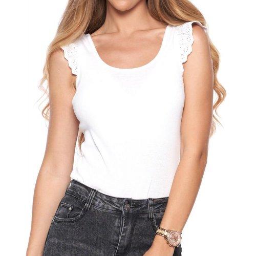 Bluzka z koronkowymi rękawami BD900-525 - biała