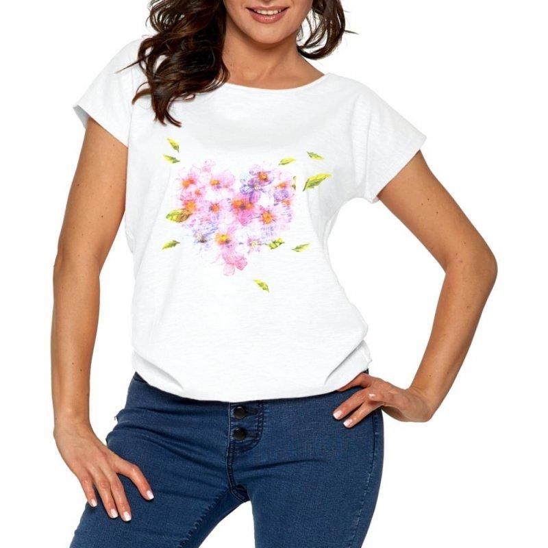 Koszulka damska FIOŁKI-  biała