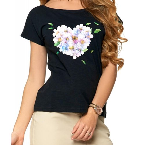 Koszulka damska FIOŁKI -  czarna