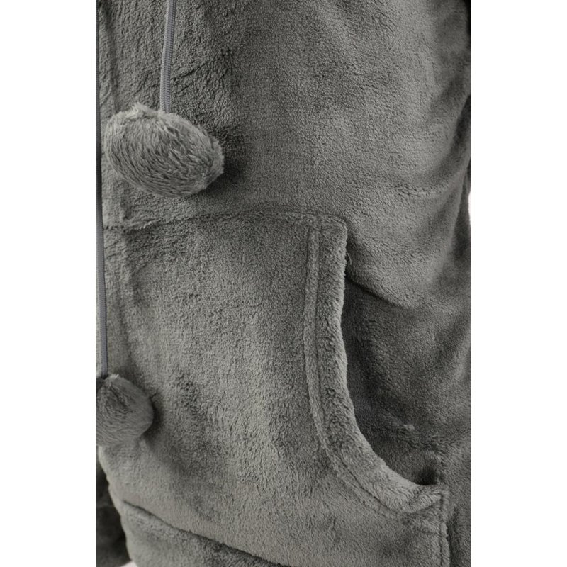 Bluza pluszowa damska kangurka z kapturem - ciemno szara