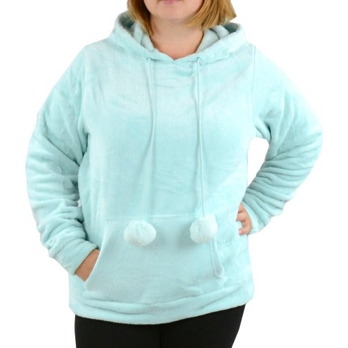 Bluza pluszowa damska kangurka z kapturem - jasno niebieska