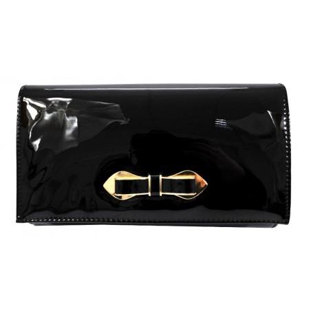 Średnia torebka kopertówka z kokardką (czarna)