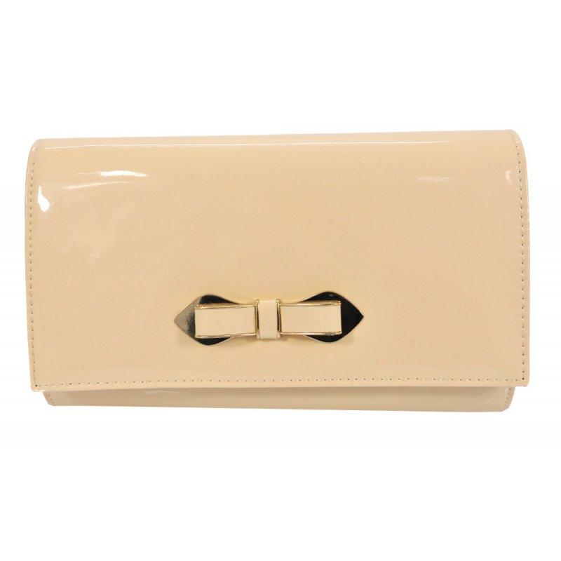 Średnia torebka kopertówka z kokardką (beżowa)