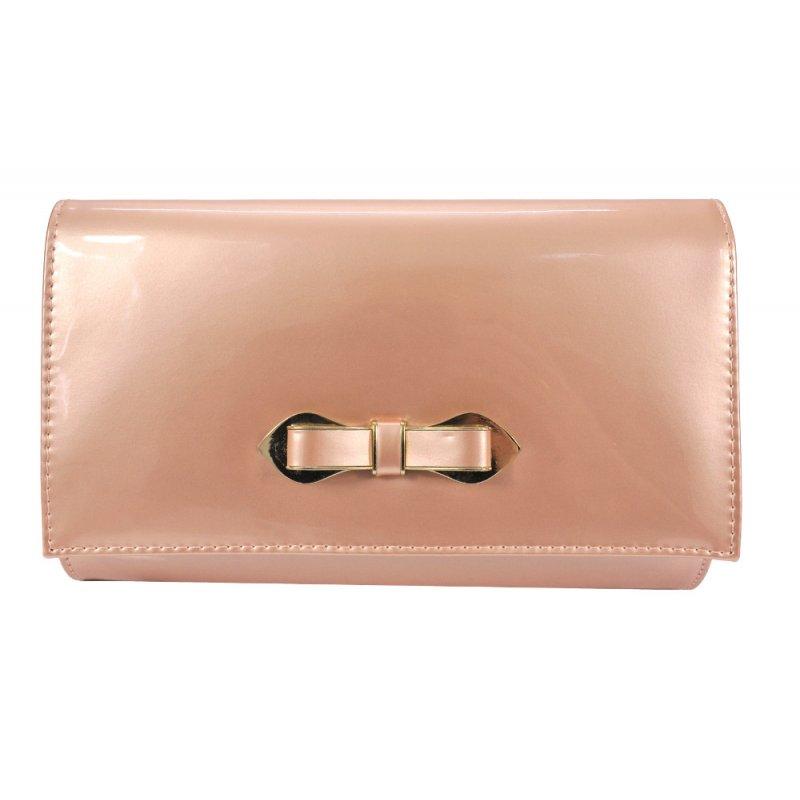 Średnia torebka kopertówka z kokardką (pudrowy róż perła)