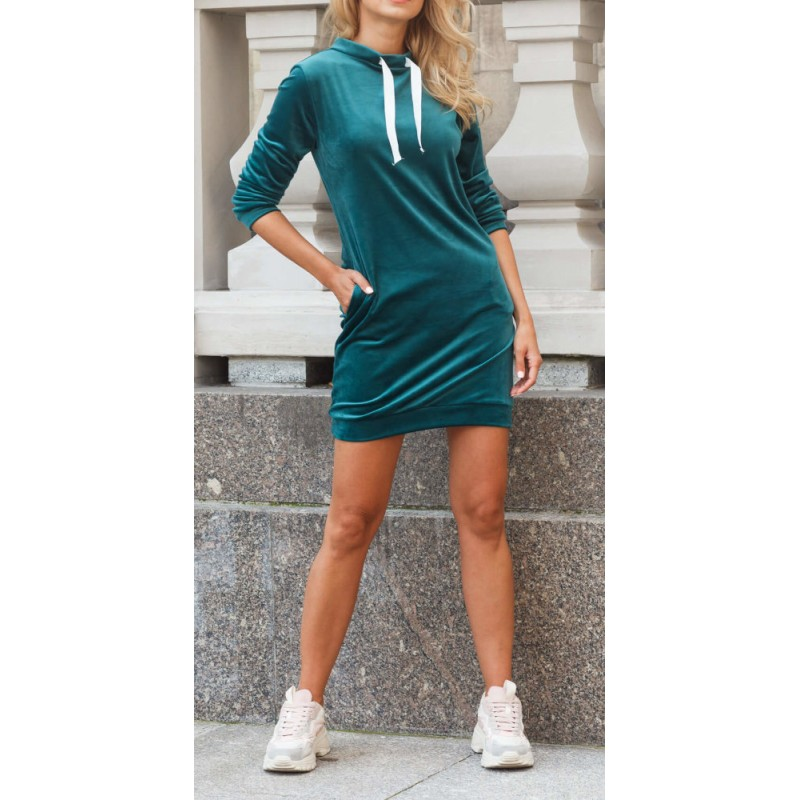 Damska sukienka welurowa - turkusowa