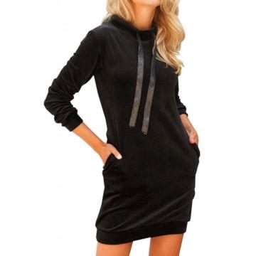 Damska sukienka welurowa - czarna