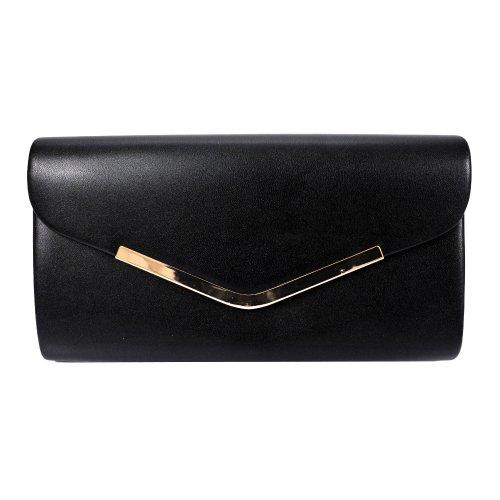 Klasyczna torebka kopertówka z matowej ekoskóry (czarna)