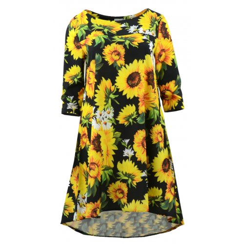 Sukienka trapezowa z kieszeniami wzorzysta (słoneczniki)