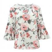 Bluzka wzorzysta z falbaniastymi rękawami (róże biel)
