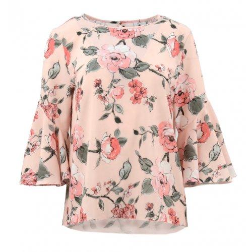 Bluzka wzorzysta z falbaniastymi rękawami (róże pudrowy róż)